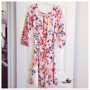 ✨Nine West Ivory Pink Off-the-Shoulder Midi Dress
